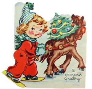 vintage mechanical card girl skiing