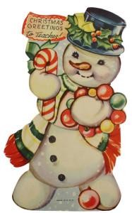 mechanical card snowman